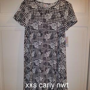 LuLaRoe XXS Carly Dress Black White Floral NWT